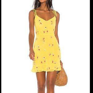 NEW LPA Multi Ruffle Mini Dress Sequin Yellow